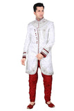 Classic Off White Brocade Silk Indian Wedding Sherwani For Men