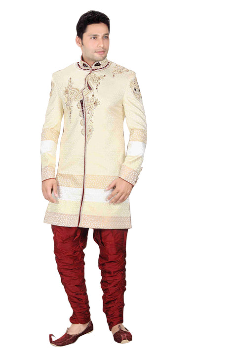 Royal Look Butter Cream Brocade Silk Indian Wedding Sherwani For Men