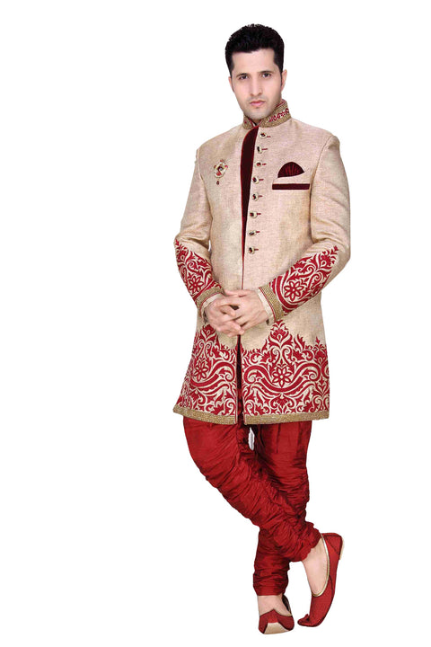 Elegant Beige Brocade Silk Indian Wedding Sherwani For Men