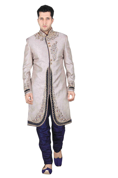 Traditional Silver Color Brocade Silk Indian Wedding Sherwani For Men