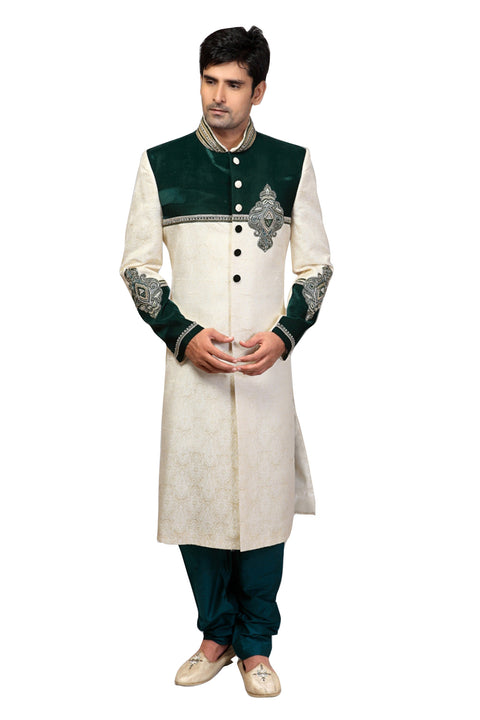 Traditional Bottle Green And Cream Banarasi Silk And Brocade Indian Wedding Sherwani For Men