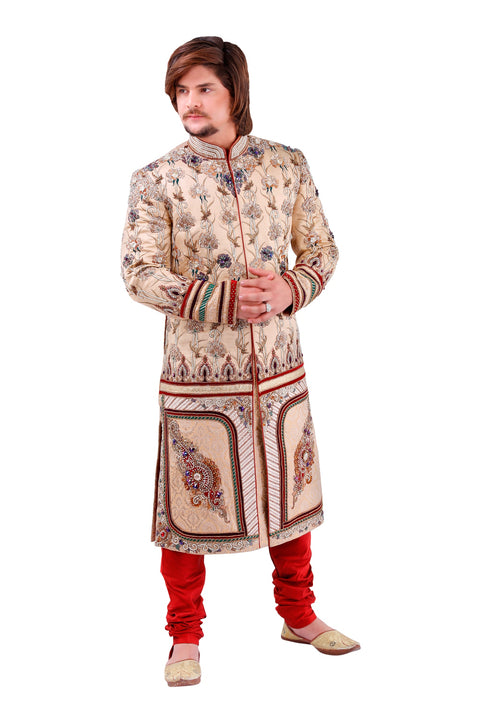 Admirable Beige Brocade Silk Indian Wedding Sherwani For Men