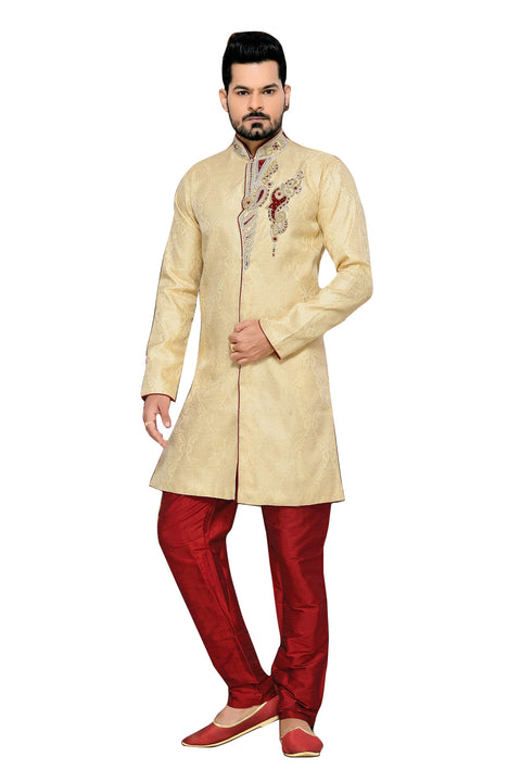 Fancy Butter Cream Jacquard Silk Indian Wedding Sherwani For Men