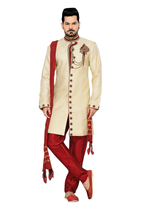 Classic Cream Jacquard Silk Indian Wedding Sherwani For Men