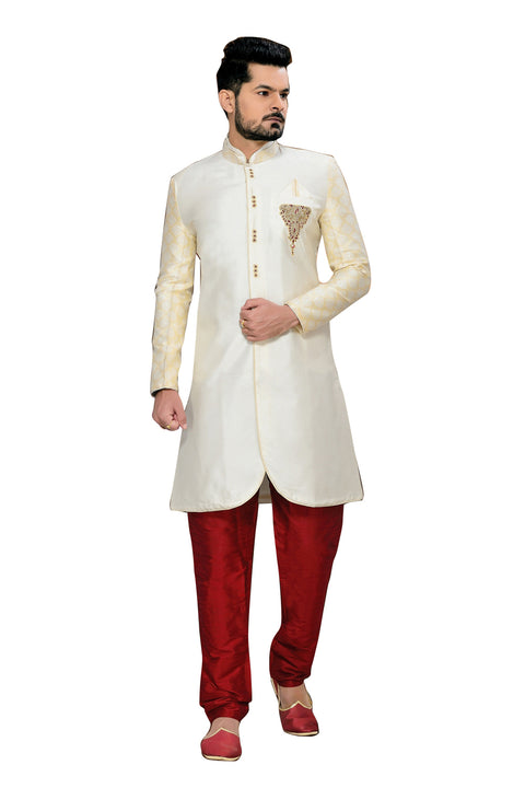 Ethnic Cream And Off White Brocade Silk Indian Wedding Sherwani For Men