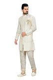 Fancy Off White Art Silk And Jacquard Silk Indian Wedding Sherwani For Men