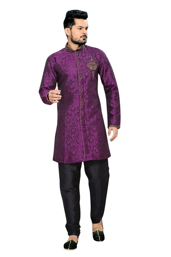 Traditional Violet Art Silk Indian Wedding Sherwani For Men