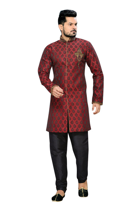 Ethnic Crimson Jacquard Silk Indian Wedding Sherwani For Men