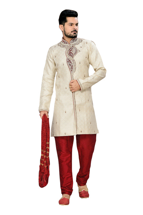 Classy Beige Jacquard Silk Indian Wedding Sherwani For Men
