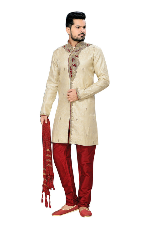Traditional Dark Cream Jacquard Silk Indian Wedding Sherwani For Men