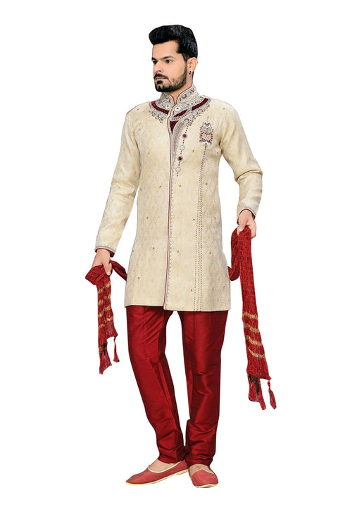 Royal Look Beige Jacquard Silk Indian Wedding Sherwani For Men