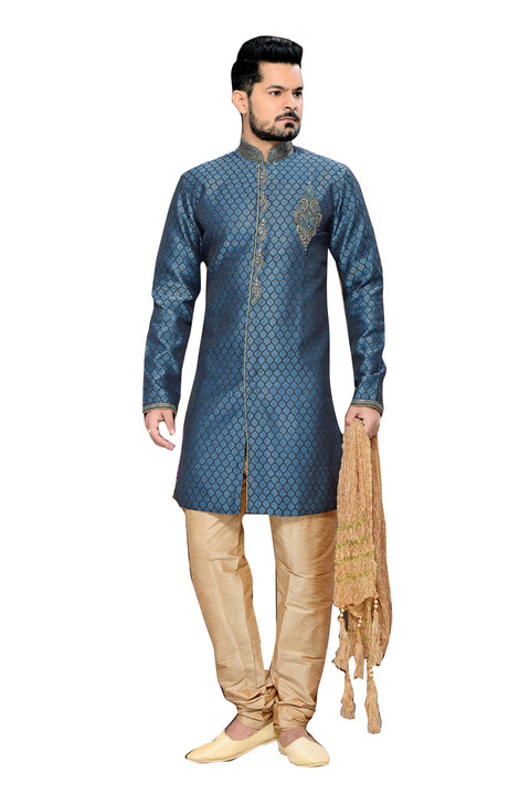 Traditional Blue Jacquard Silk Indian Wedding Sherwani For Men