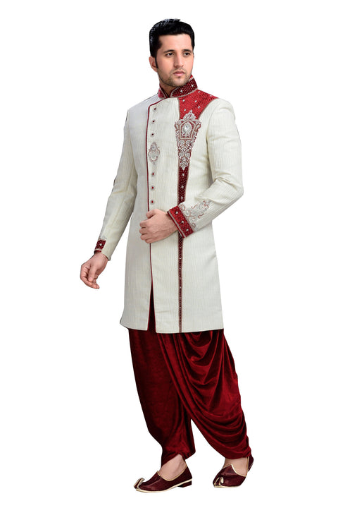 Traditional Off White Imported Silk Indian Wedding Sherwani For Men