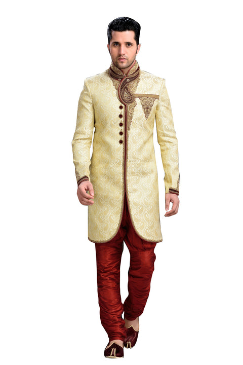 Royal Look Cream Brocade Silk Indian Wedding Sherwani For Men