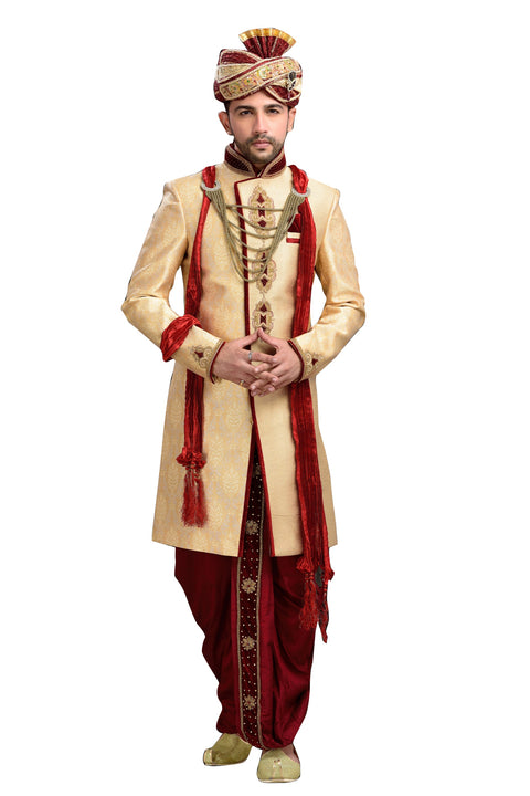 Ethnic Dark Cream Brocade Jamawar And Jute Silk Indian Wedding Sherwani For Men