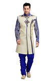 Classic Royal Blue And Cream Jute Silk Indian Wedding Sherwani For Men