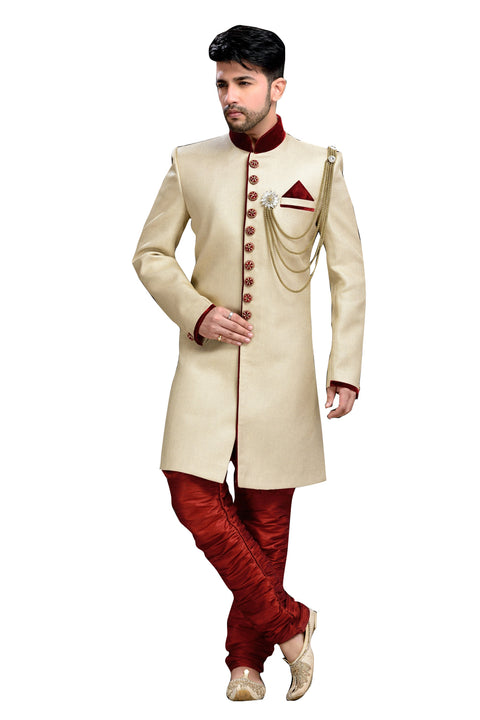 Royal Look Cream Jute Silk Indian Wedding Sherwani For Men