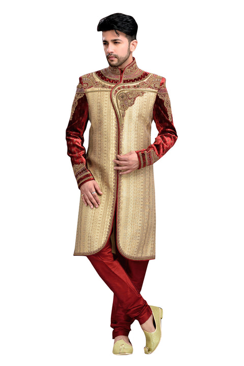 Classic French Beige And Maroon Brocade Jamawar And Velvet Silk Indian Wedding Sherwani For Men