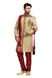 Elegant Tan Brown Jute Silk Indian Wedding Sherwani For Men
