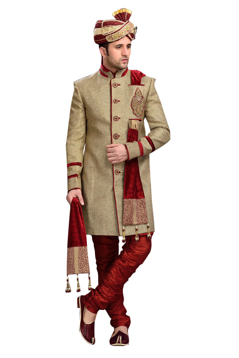 Traditional Tan Brown Jute Silk Indian Wedding Sherwani For Men