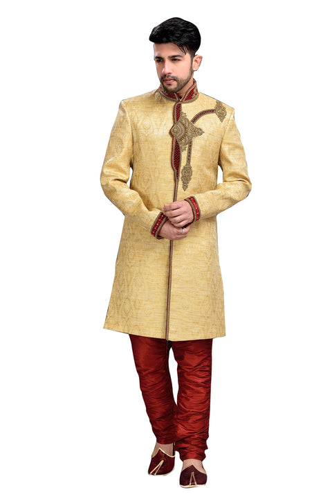Ethnic Butter Cream Brocade Silk Indian Wedding Sherwani For Men