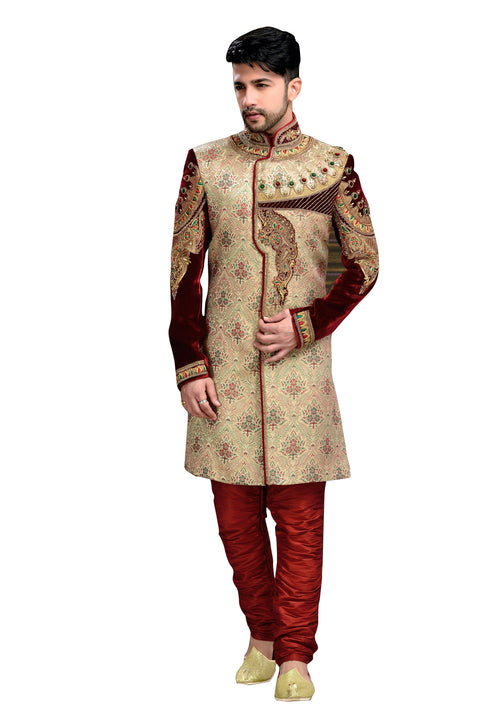 Elegant Multiple Brocade Jamawar And Velvet Indian Wedding Sherwani For Men