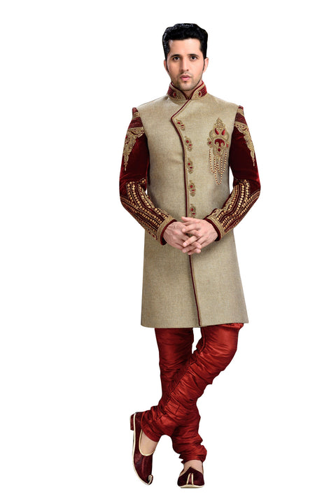 Traditional Tan Brown Jute Silk And Velvet Indian Wedding Sherwani For Men