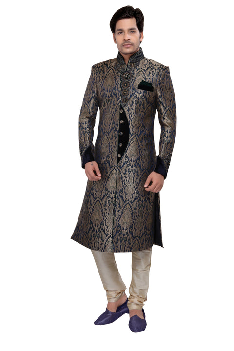 Royal Look Navy Blue Brocade Silk Indian Wedding Sherwani For Men