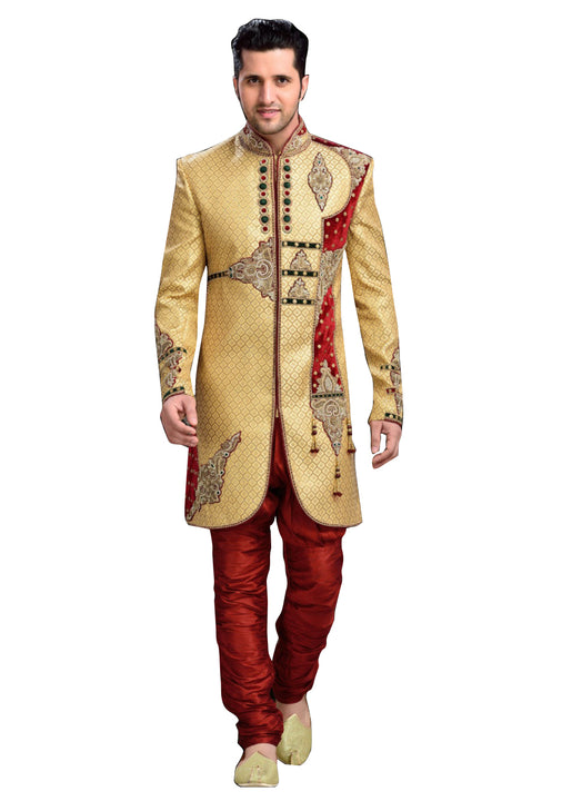 Modern Dark Cream Jacquard Silk Indian Wedding Sherwani For Men