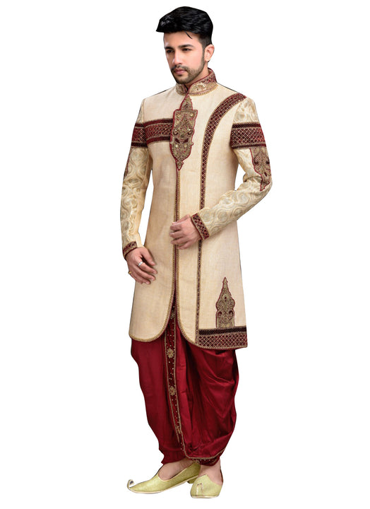Traditional Cream Jute Indian Wedding Sherwani For Men