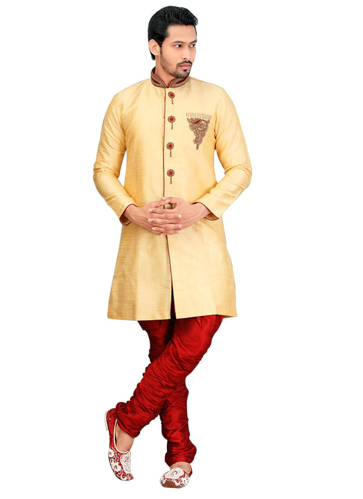 Traditional Dark Cream Dupioni Raw Silk Indian Wedding Sherwani For Men
