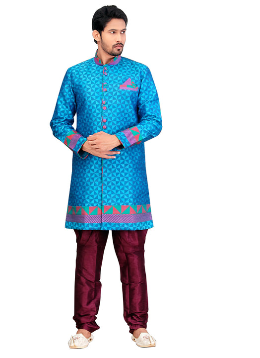 Fancy Sky Blue Dupioni Raw Silk Indian Wedding Sherwani For Men