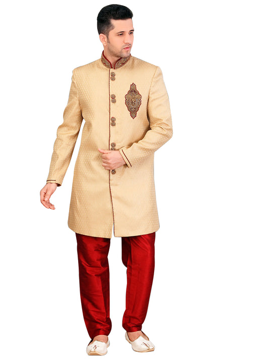 Ethnic French Beige Jacquard Silk Indian Wedding Sherwani For Men