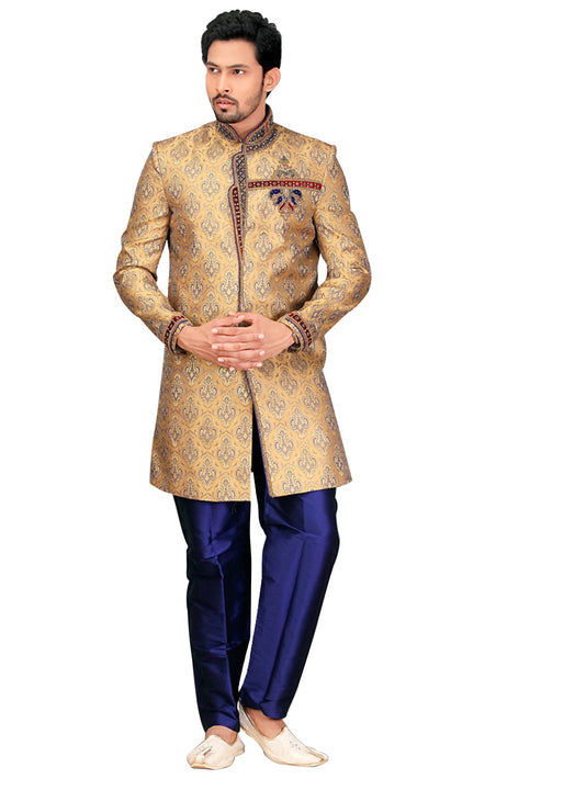 Traditional French Beige Jacquard Silk Indian Wedding Sherwani For Men