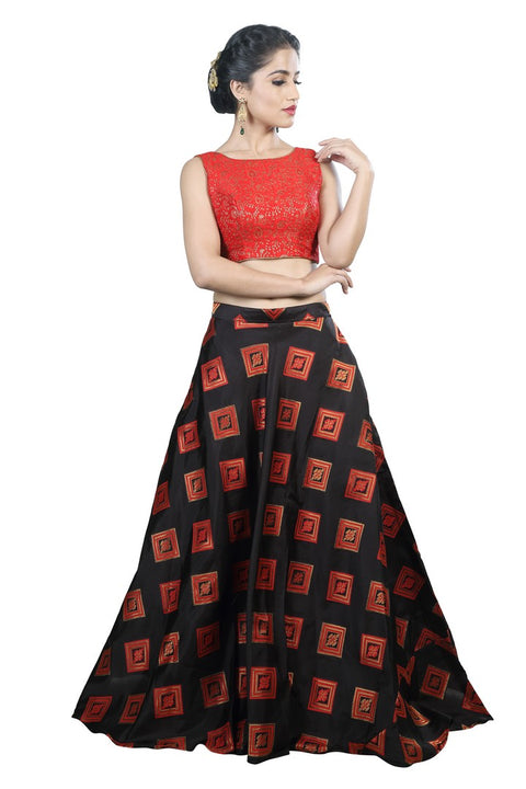 4e6bcf4457d Modern Geometric Red & Black Lehenga and Crop Top Set – Saris and Things