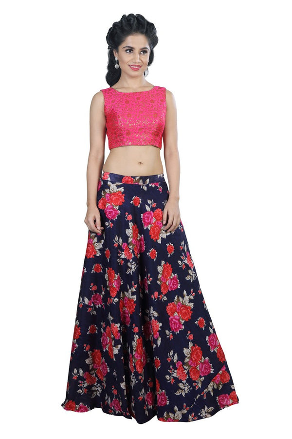 Stunning Hot Pink Floral Crop Top Style Lehenga