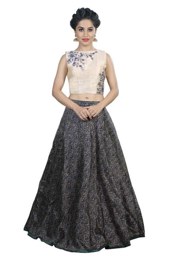Trendy Navy & Cream Lehenga and Crop Top Set