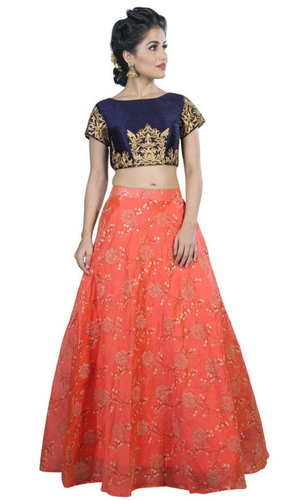 Mystical Peach and Navy Crop Top Style Lehenga
