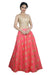 Flirty Coral and Gold Crop Top Style Lehenga
