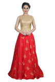 Beautiful Red & Gold Foil Print Lehenga and Crop Top Set