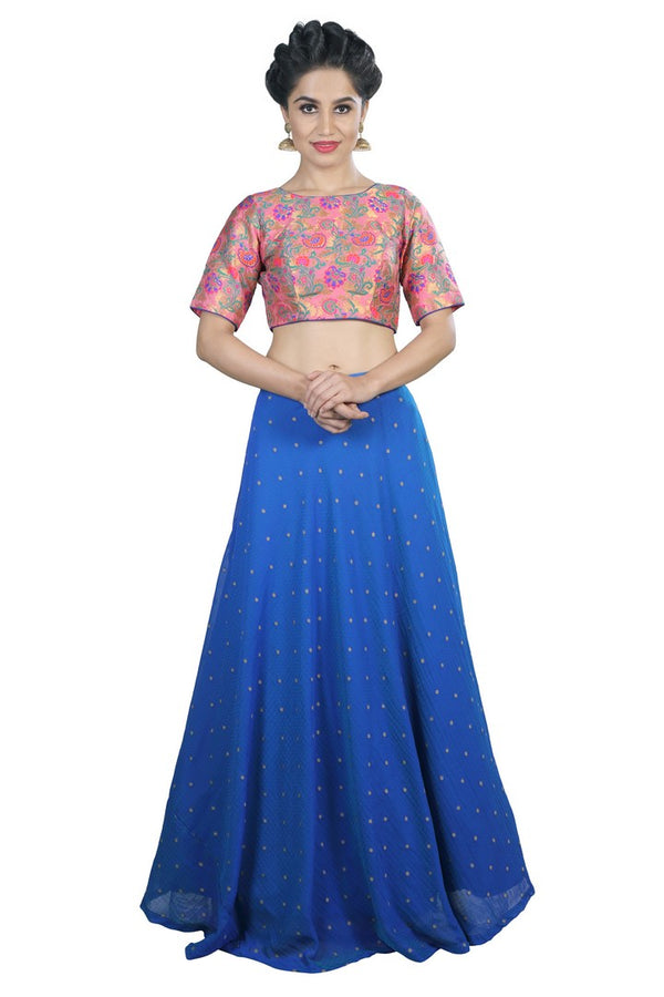Candy Pink and Blue Crop Top Style Lehenga
