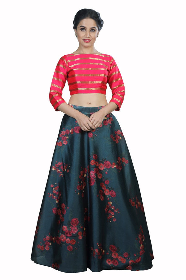 Forrest Green and Hot Pink Crop Top Style Lehenga