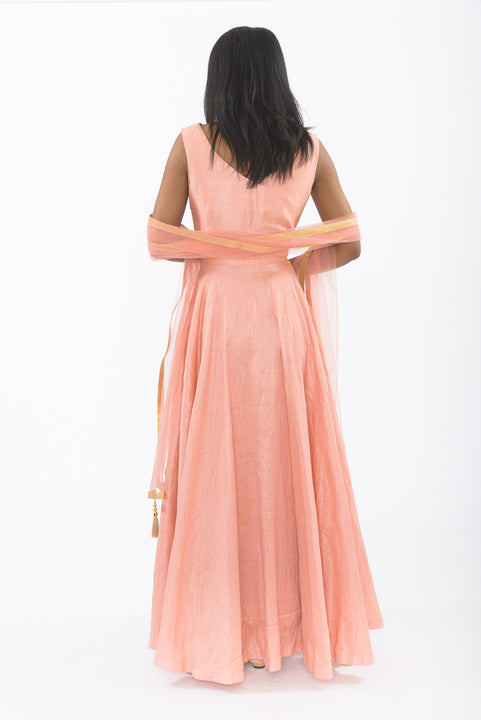 Charming Pink Indo-Western Anarkali Gown