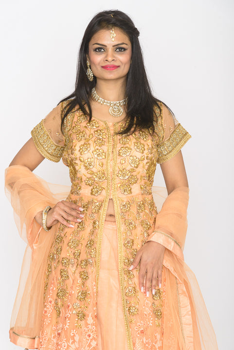 Golden Princess Peach Embroidered Indo-Western Lehenga