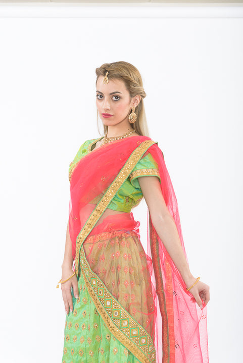 Neon Green and Pink Silk Lehenga Available for Rent/Purchase