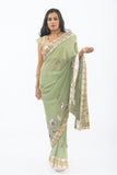 Glamorous Green Heavy Embroidered Indian Wedding Reception Sari