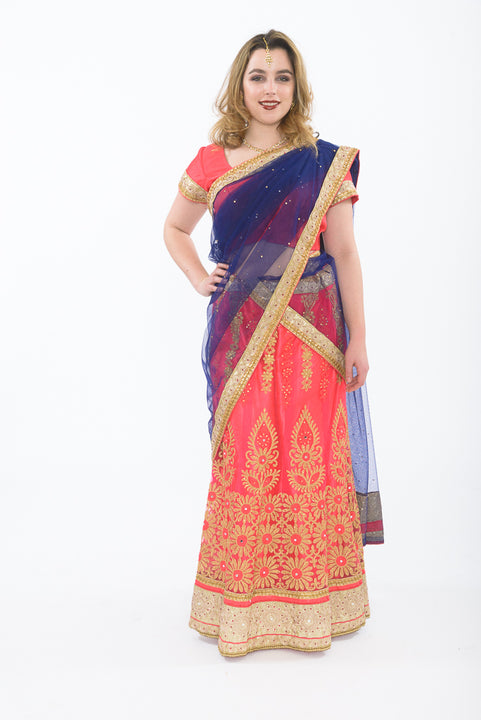 Pink and Blue Silk Lehenga - Front
