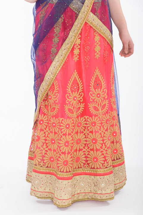 Pink and Blue Silk Lehenga - Bottom