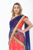 Pink and Blue Silk Lehenga -Side