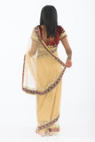 Alluring Maroon & Gold Lehenga Style Ready-Made Pre-Pleated Sari